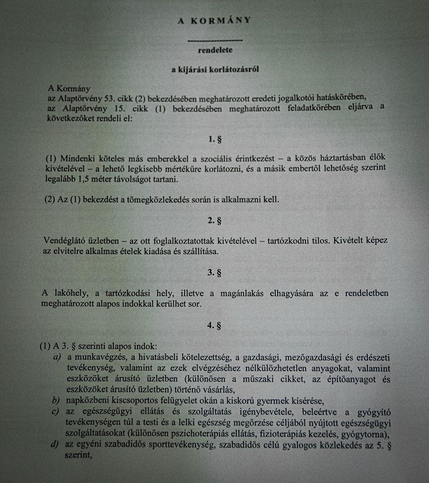A kijárási tilalom rendelete