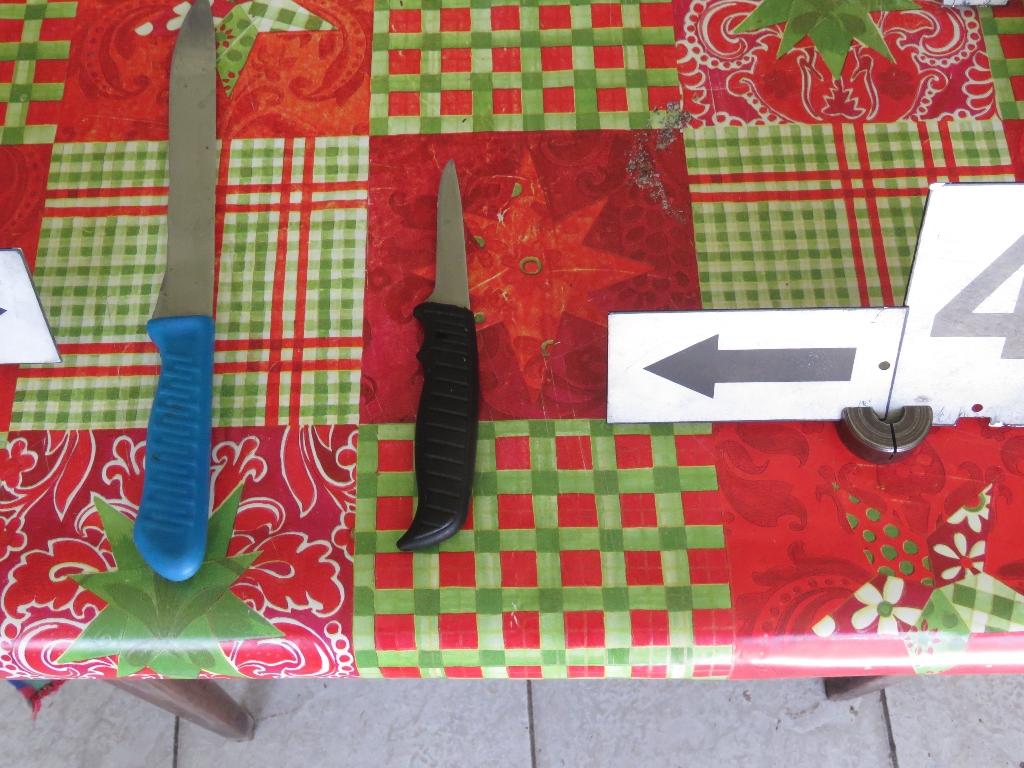 Egy 15 cm pengehosszúságú késsel szúrt