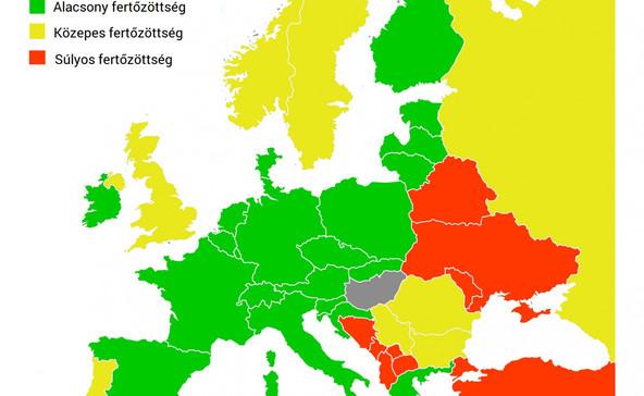 Itt vannak a sárga és piros listás országok