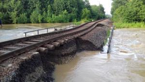 Vasúti híd a megáradt Rinyánál