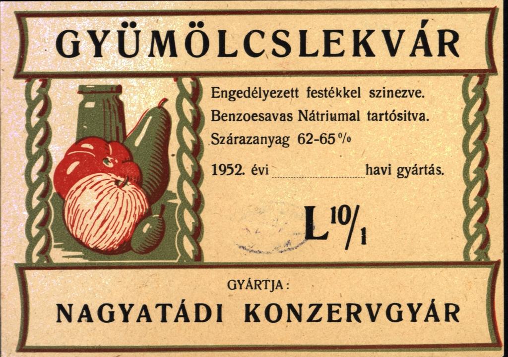 Konzervgyári címke, 1952.