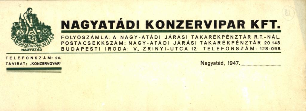 A cég levélpapírjának fejléce a Benyák Jenő tervezte logóval